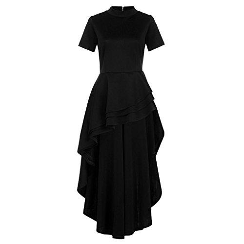 Grande Robe Robe Taille Jupe Femme de Robe Mode d'air t Mounter Femme Vintage de Noir Feuille 7XRqx