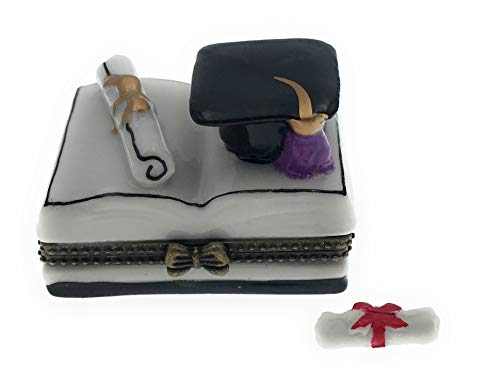 Graduation Diploma and Hat on Book Shaped Porcelain Trinket Box with Tiny Trinket Inside, by ArtGifts, 1.75