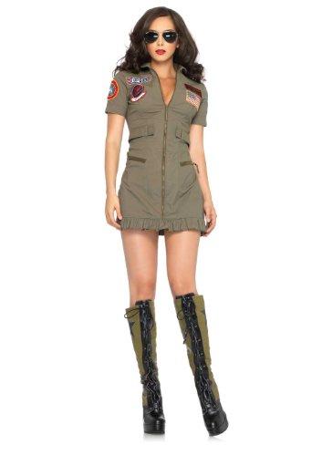 83700 Ladies Large Sexy Maverick Costume Goose Flight Dress Sexy Top Gun Green]()