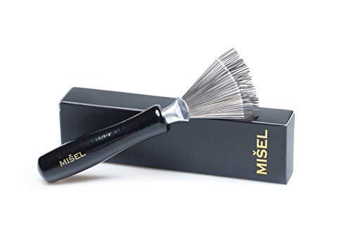 Hair Brush Cleaner for easy Hair, Dust, Lint & Product Buildup removal. Metal rake with Wooden handle for comfortable grip. Cleaning tool designed by MISEL ()