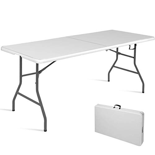 Goplus 6 Folding Table Indoor Outdoor Dining Camp Table Portable Plastic Picnic Table with Rounded Corners Handle, Black Off White