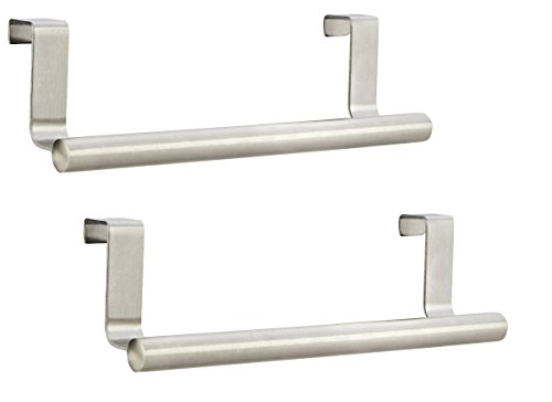 Set of 2 Towel Bar Holders Brushed Stainless Steel Kitchen Dish Towel Rack - Universal Hanging Holder Over the Cabinet Cupboard - No Hole Drilling Required (Cupboard Door Towel Rack compare prices)