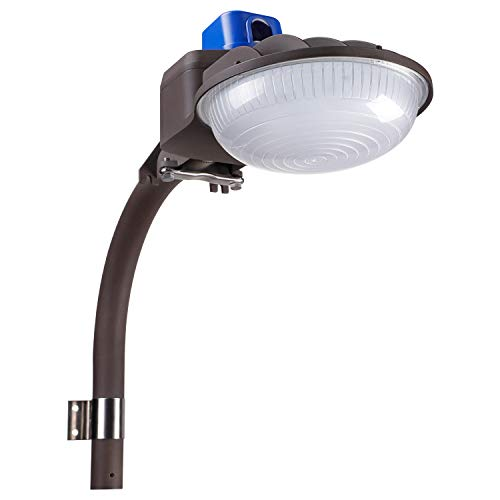 LEONLITE 75W LED Barn Light, Security Flood Light with Monuting Arm, DLC & ETL Listed, Photocell Dusk to Dawn, 600W Eqv. Daylight 5000K, IP65 Farm/Yard/Garage/Sidewalk Lighting, Brown