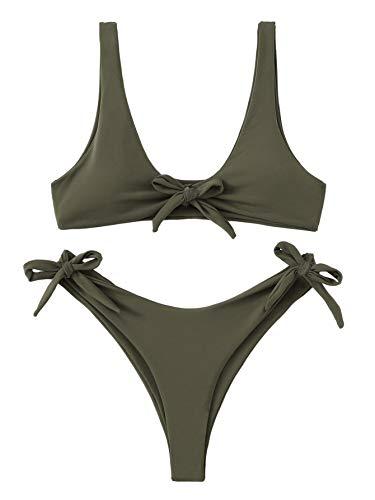 SweatyRocks Women's Sexy Bikini Swimsuit Tie Knot Front Swimwear Tie Side Thong Bottom Bathing Set Green ()