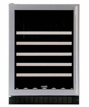 Marvel 61WCM-BS-G-L 24' Wine Cellar with 45-Bottle Capacity Including Magnums 5 Extendable Racks Fixed Wine Cradle Inclined Display Rack and Electronic MicroSentry Controls: Stainles