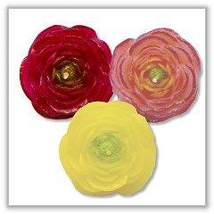 "Ranuncuus Flower Floating Candles - Original Colors - 2½"" - (Set of 3)"