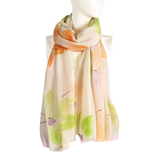 (Soft Wool Scarves, WAMSOFT Women Soft Thick Warm Double Side Reversible Hand Painted Blossom Cashmere Feel Pashmina Wrap Shawl Scarf for Spring(Blossom#)