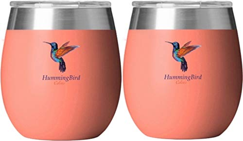 Insulated Wine Glasses by HummingBird Colors -Stainless Steel Tumbler Set of 2 with Double Wall Vacuum Insulation -Powder Coated -BPA Free Shatterproof Lid for Camping Beach and Outdoor ()