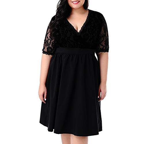 NEARTIME Women Party Dress, Ladies Plus Size Short Sleeve Skirts Sexy V-Neck Lace Stitching Waist Slim Wedding Dress