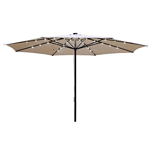 Yescom 13ft Patio Umbrella w/ 48 LEDs Outdoor Market Beach Garden 8 Ribs Cover Top Canopy Sunshade by Yescom