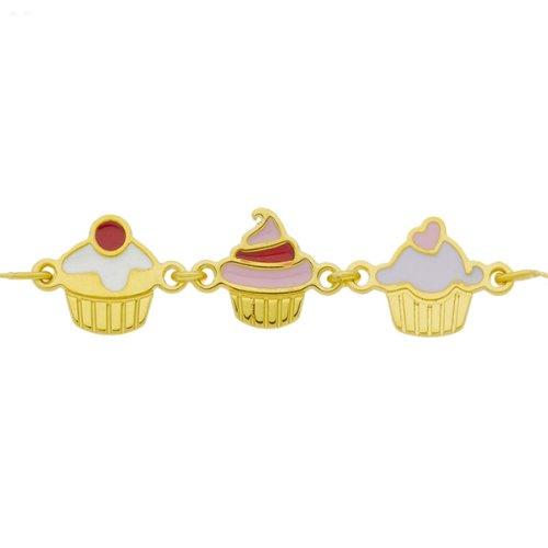 So Chic Bijoux © Bracelet Enfant 14 cm - Or Jaune 375/000 (9 carats) 0,75gr - Maille Fantaisie Cupcakes Laqués Blanc Rouge Rose