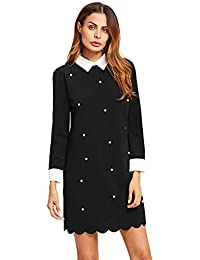 Floerns Women's Casual Swing Tshirt Dress Flowy Simple Contrast Collar 3/4 Sleeve Dresses