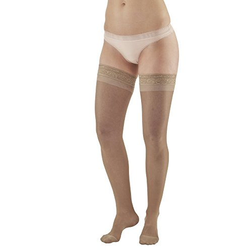 Ames Walker AW Style 4 Sheer Support 15-20mmHg Moderate Compression Closed Toe Thigh High Stockings w Lace Band Nude Queen - Fashionably sheer appearance - relieves tired aching and swollen legs