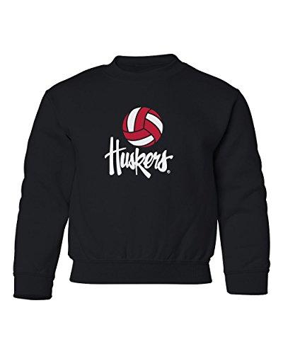 CornBorn Nebraska Youth Crewneck Sweatshirt Nebraska Volleyball Legacy Script Huskers - Black - Medium