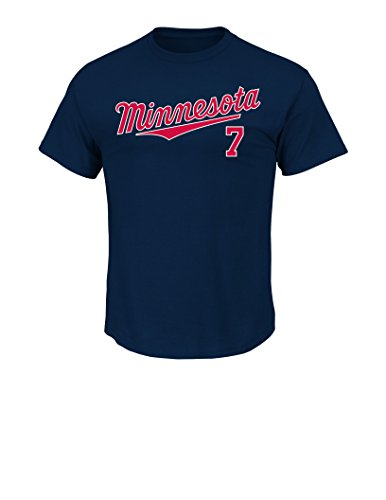 MLB Minnesota Twins Men's J Mauer 7 2 Player Name Number Tee, Large, Navy
