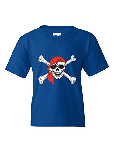 Pirate Birthday Party Halloween Costume Idea Jolly Roger Skull Crossbones Unisex Youth Kids T-Shirt (YMRB) Royal Blue -