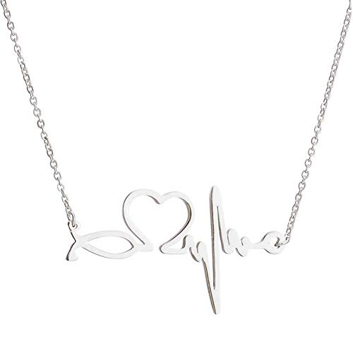 JczR.Y Vintage Lighting Sweater Chain Necklace for Women Girls Simple Stainless Steel ECG Love Heart Shape Pendant Necklace Doctor Nurse Fashion Caring Health Jewelry (Silver)