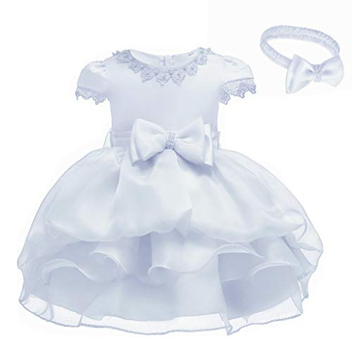 Toddler Baby Girls Cape Sleeves Ruffled Christing Pageant Birthday Party Baptismal Dress with -