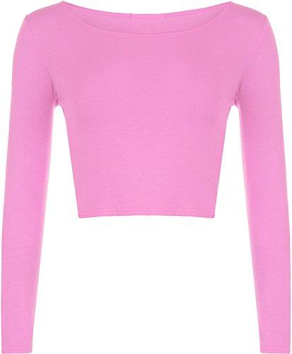 Janisramone mujeres de largo cuello crop top camiseta manga rosa pastel
