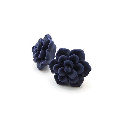 Succulent Earrings on Hypoallergenic Metal-Free Plastic Posts, 13mm Matte Deep Blue