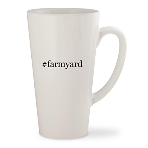 #farmyard - White Hashtag 17oz Ceramic Latte Mug - Farmyard Activity Mat Funky