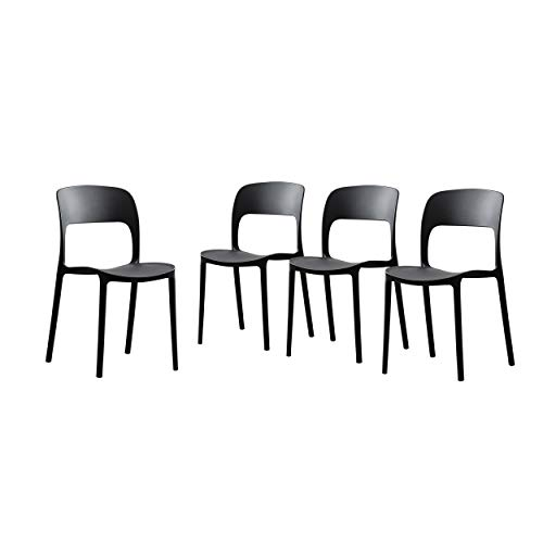 Great Deal Furniture 306522 Dean Outdoor Plastic Chairs (Set of 4), Black
