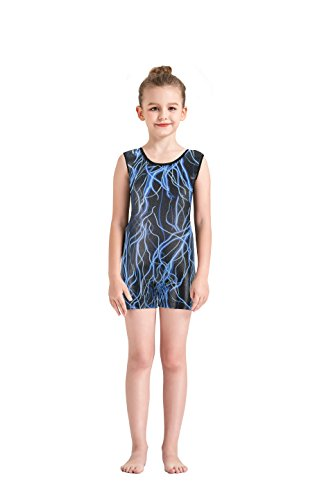 Dancewear Unitard (Kql Leotards Rainbow Gymnastics Shiny Tank Unitards Shortall Girl Kids Dancewear Biketards 3-10Y (Blue Lightning, 9-10Y))