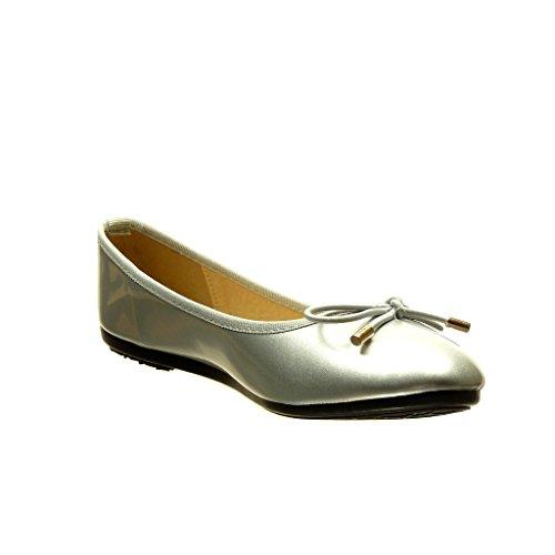 Angkorly - Zapatillas de Moda Bailarinas slip-on mujer dorado nodo Talón tacón plano 0 CM - Plata
