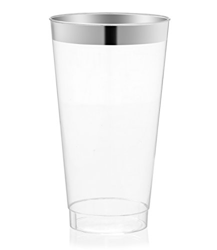 DRINKET Silver Plastic Cups 16 oz Clear Plastic Cups / Tumblers Fancy Plastic Wedding Cups With Silver Rim 50 Ct Disposable For Party Holiday and Occasions SUPER VALUE PACK