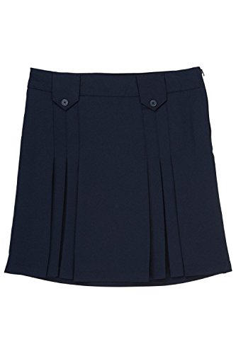 French Toast Big Girls' Front Pleated Skirt with Tabs, Navy, 14 by French Toast