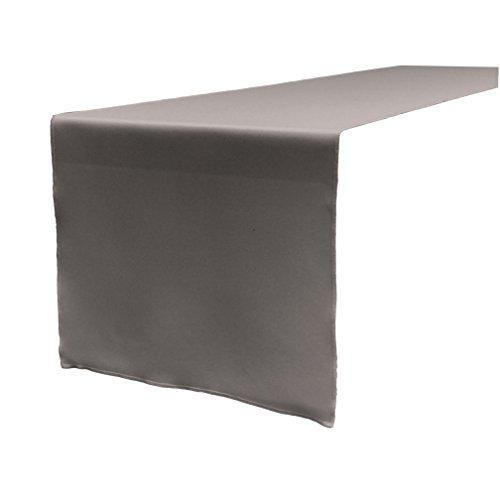 LA Linen Polyester Poplin Table Runner 14 by 108-Inch, Dark Grey, Gray P