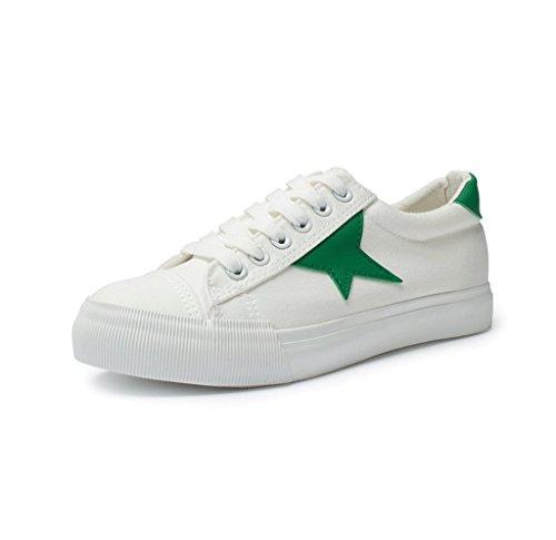 y Tamaño sencillos planos Negro Color Zapatos de cómodos ocasionales Zapatos Zapatos bajos lona de del respirables Verde cordón 36 manera la EUxwvqI