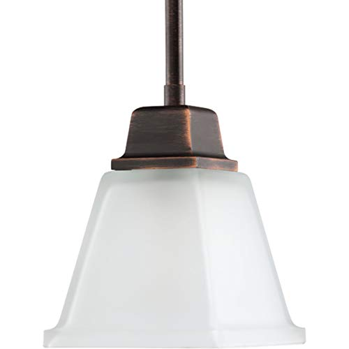 Progress Lighting P5135-74 1-Light Mini-Pendant with Twin Arching Arms and Square Etched Glass, Venetian Bronze
