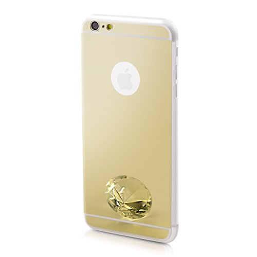 kwmobile Funda Compatible con Apple iPhone 6 Plus / 6S Plus - Carcasa Protectora Trasera de TPU para movil en Dorado con Efecto Espejo