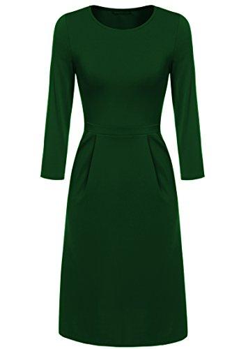 Keland Femmes Robe Mi-longue  Manches 3/4 Col Rond Robe Fronc lgante Bureau et Mariage Vert fonc