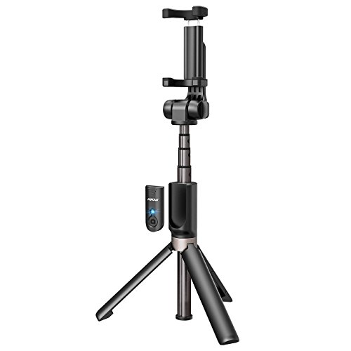 Mpow Selfie Stick Bluetooth, 2-In-1 Extendable Selfie Stick Tripod with Wireless Remote Shutter for iPhone X/8/8P/7/7P/6s/6P, Galaxy S9/S9 Plus/S8/S7/S6/S5/Note 8, Google, Huawei and More (Black)