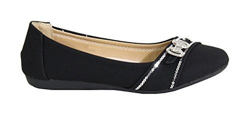 Avec Femme Noir By Bijoux Brodés Plate Shoes Ballerine Cuir Style wwrPX8zq