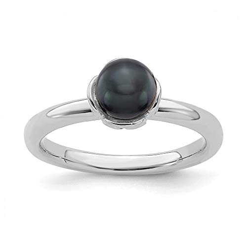 925 Sterling Silver Stack Exp. Black Freshwater Cultured Pearl Band Ring Size 10.00 Stackable Gemstone Fine Jewelry Gifts For Women For Her ()