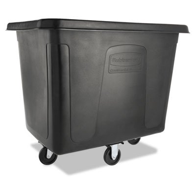 Rubbermaid Commercial MDPE 102.9-Gallon Laundry and Waste Collection Cube Truck, Rectangular, 31-Inch Width x 43-3/4-Inch Depth x 37-Inch Height, Black (FG461600BLA) ()