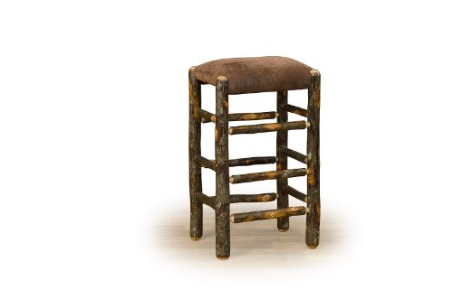Rustic Hickory Counter Stool With Faux Leather Seat - 24' - Amish Made