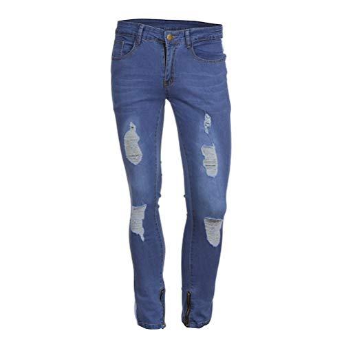 Biker Itisme Fit Denim Pantalons Stretchy Homme Automne Mode Noir Jeans Skinny Homme Slim Et Trou Enfilé D Hiver Casual qqzZFrxw