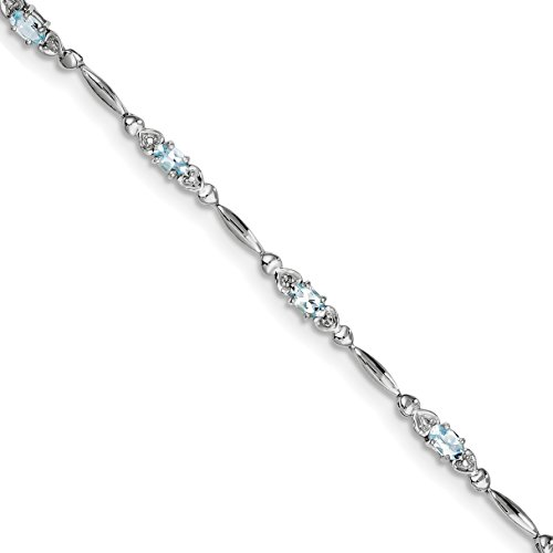 ICE CARATS 925 Sterling Silver Blue Aquamarine Diamond Bracelet 7 Inch /love Gemstone Fine Jewelry Gift Set For Women Heart by ICE CARATS