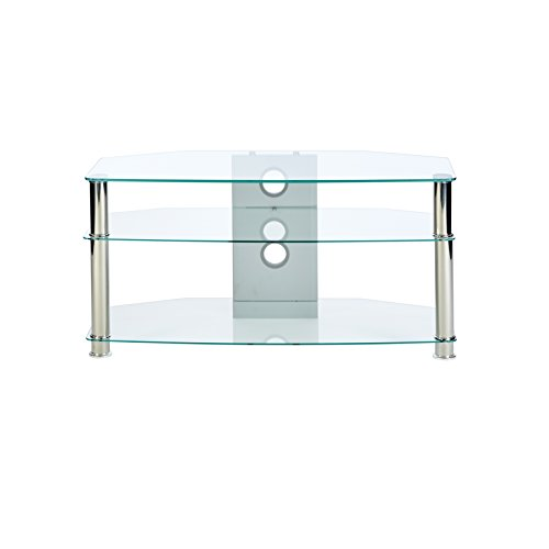 Chrome Wide Tv Stand (MMT Clear Glass TV Stand - Suits 32 To 47 Inch LCD LED 3D Plasma Flat Screen Televisions - 1000Mm Wide)