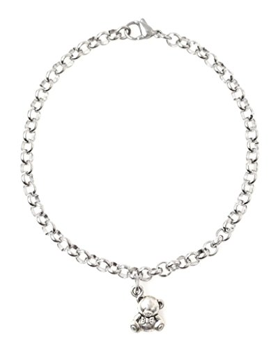 "Adjustable 8.5"" Stainless Steel Bracelet with Alloy Teddy Bear. Personalize with Clip on Charms (Teddy) 66U"
