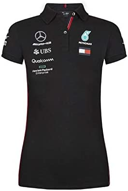 Mercedes AMG Petronas F1 Drivers Mujer Negro Polo Shirt Oficial ...