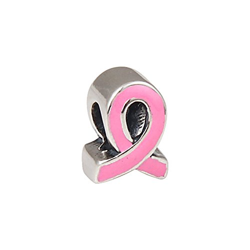 Sterling Awareness Ribbon Bracelet Silver (The Kiss Pink Ribbon Breast Cancer Awareness CZ Enamel Charm 925 Sterling Silver Bead Fits European Charm Bracelet (Pink Enamel 1))