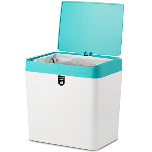 (Crippa Small Trash Can with Lid   Compact Countertop Trash Can for Kitchen Countertop, Bathroom, and Office   1.5 Gallon Trash Can Bathroom Wastebasket   White Plastic Trash Can with Turquoise Lid)
