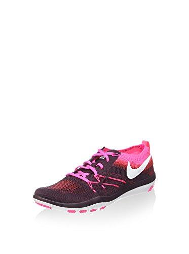 NIKE Frauen Free Focus Flyknit Trainingsschuh, Deep Burgundy / White-Pink Blast 844817-601 Weiß-rosa