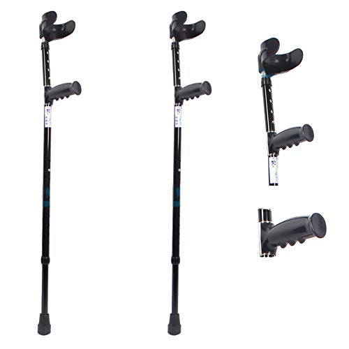 ZHOUHUAW Forearm Crutch, with Comfy Handle, High Density Sturdy Aluminum, Non Skid Replaceable Rubber Tips,2pcs