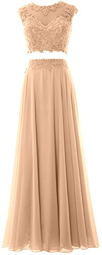 MACloth Prom Lace Women Party 2 Long Dress Champagner Gown Piece Formal Chiffon Evening rrISq